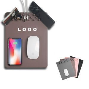 Wireless Charging Mouse Pad w/Phone Stand